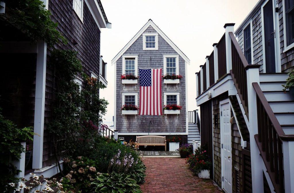 home displaying American flag