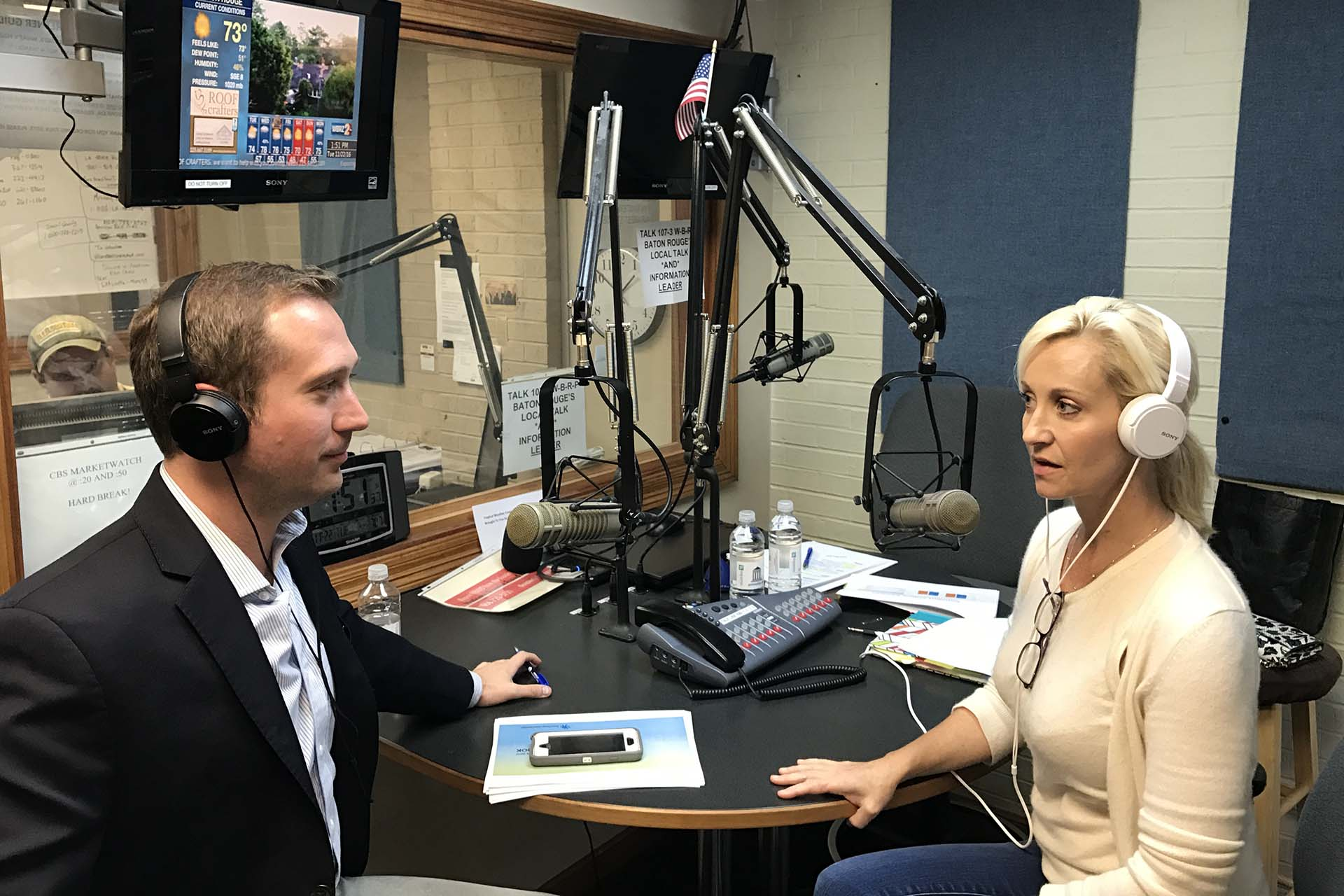 Taping Mortgage Matters Radio Show in Studio with Pam Matassa of GMFS Mortgage