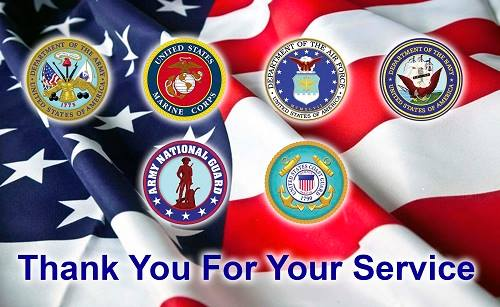 Thank you For Your Service U.S. Military Service Members