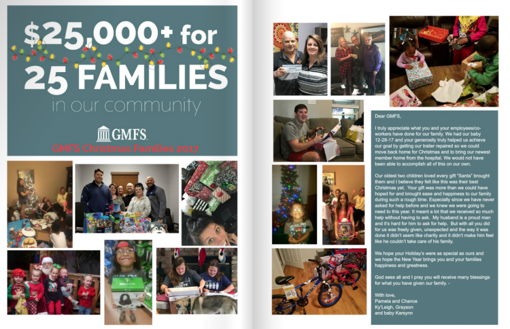 GMFS Mortgage Donates $25,000 for 25 Families in Need - Christmas 2017