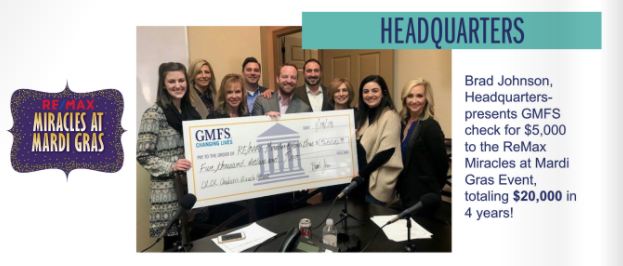 GMFS Mortgage Donation for ReMax Miracles at Mardi Gras