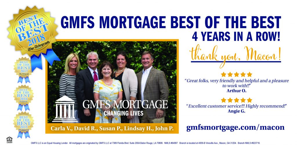 GMFS Mortgage Macon, GA Voted Best Mortgage Company 4 Years in a Row